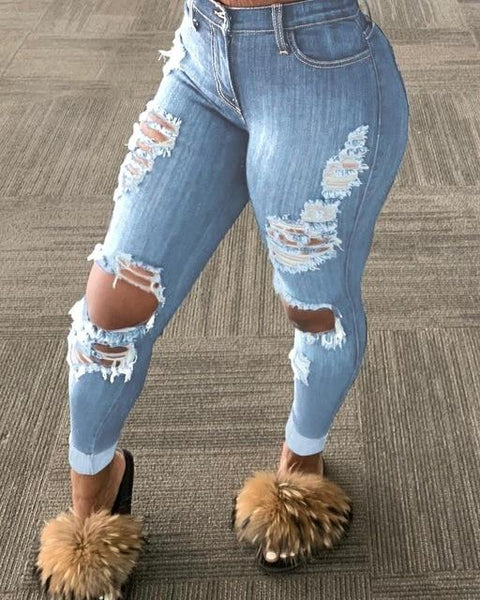 Mari - High Waist Tattered Skinny Jeans