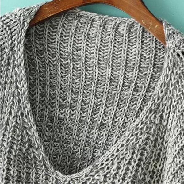 Deep V-Neck Loose Pullover Sweater