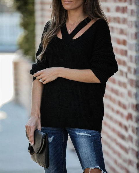 Jackie - V-Neck Knitted Sweater