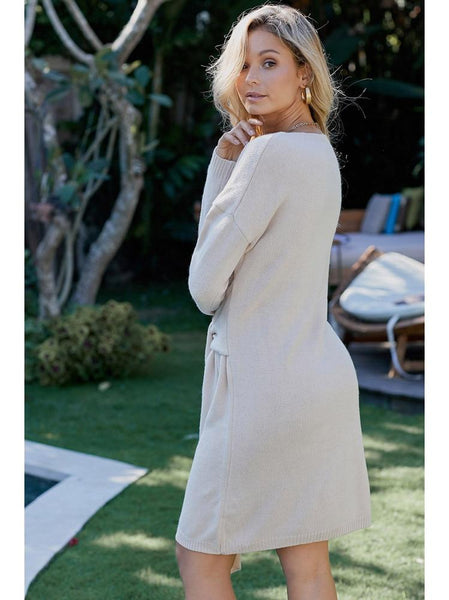 Caitlyn - Long Sleeve Knitted Tie Sweater Dress
