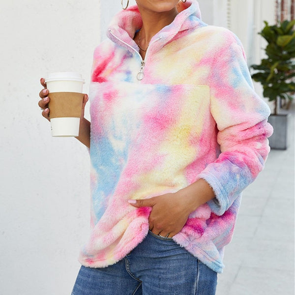 Euna - Tie Dye Turtleneck Fleece Hoodie