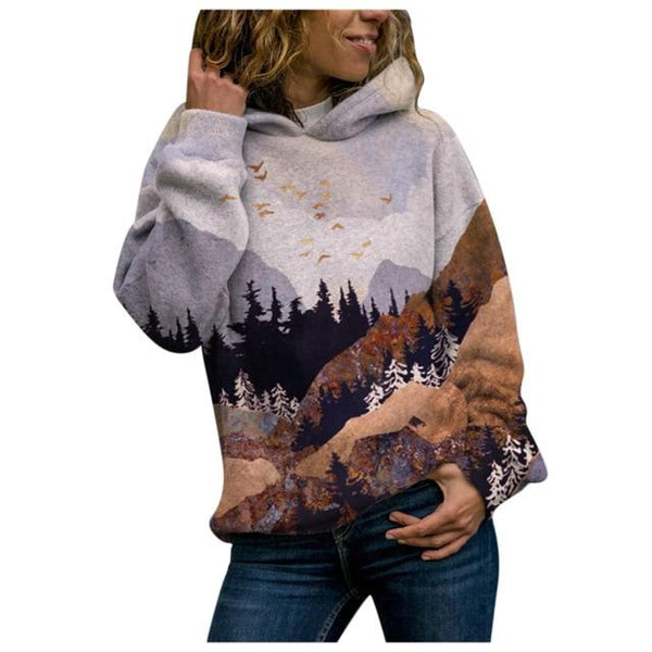 Clementine - Sleepy Mountain Forest Illustration Hoodie