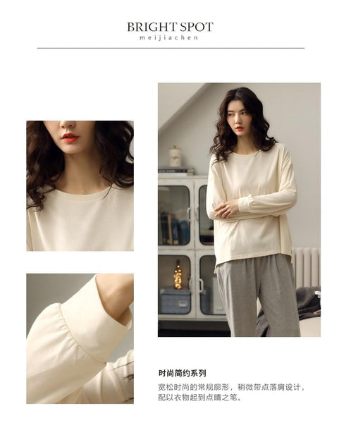 Pajama and O Neck Long Sleeve Set