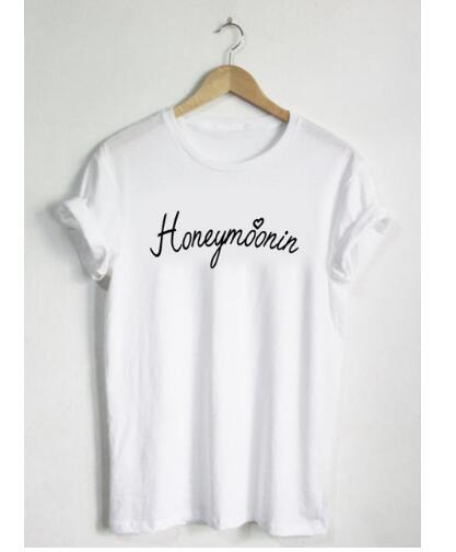 Shelly - Honeymoonin Handwritten Script Print Top