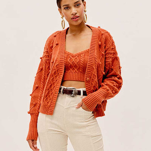 Jenny - Knitted Autumn Cardigan & Camisole