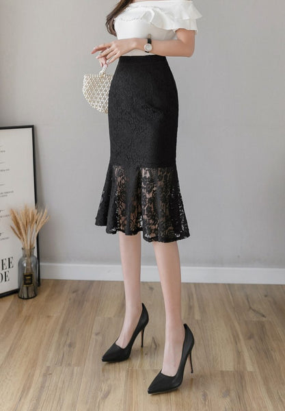 Bianca - Elegant Ruffled Lace Skirt