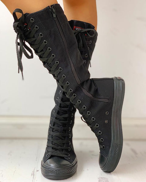 Lace-Up Long Boots