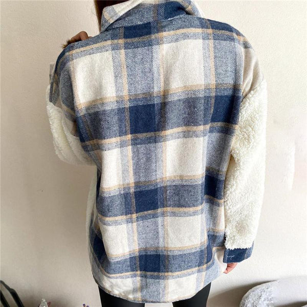 Maddie - Oversized Plaid Patchwork Jacket