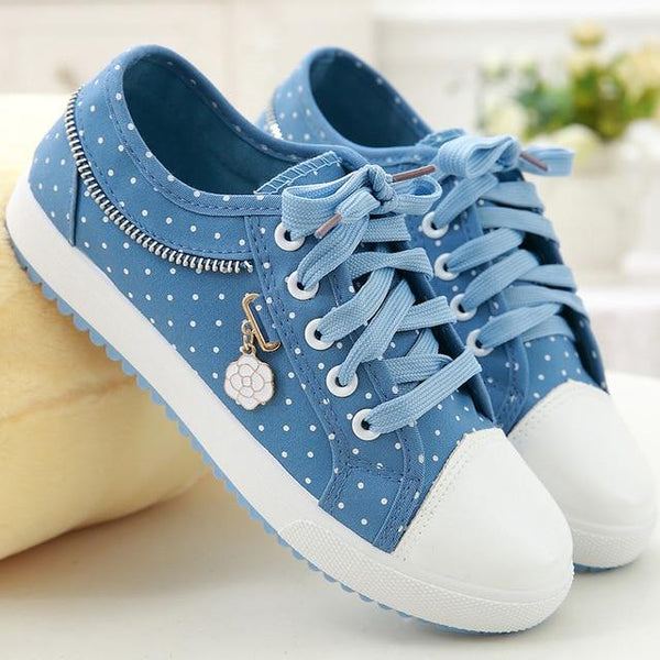 Lace Up Sneakers With Floral Embroidery