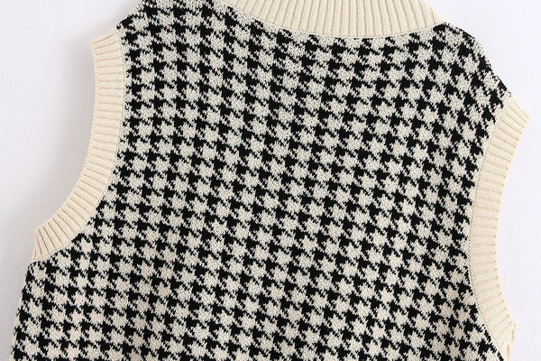Oversized Vintage Plaid Knitted Sweater