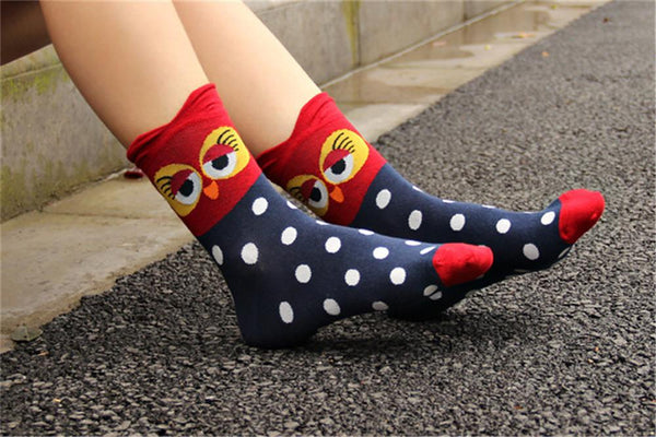 Colorful Cartoon Owl Socks