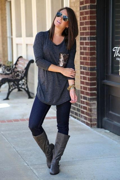 Kyra - Pocket Sequin O-Neck Long Sleeve T-Shirt