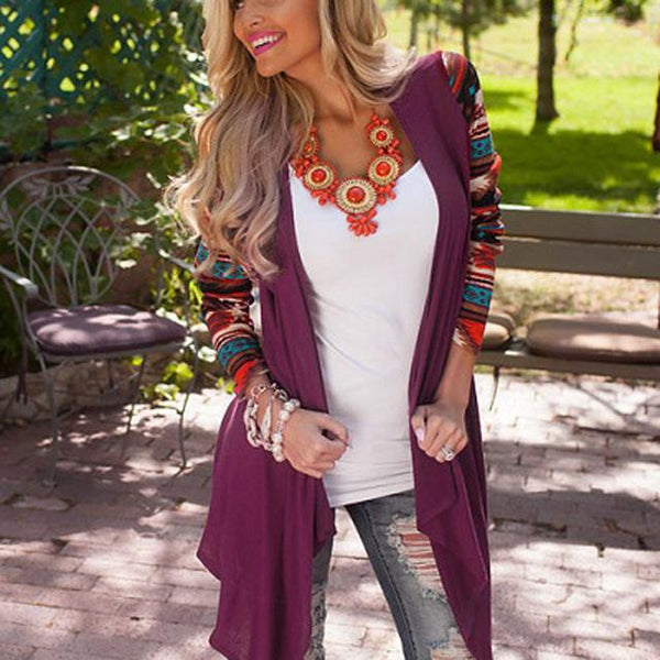 Kali - Boho Tribal Print Long Sleeve Cardigan