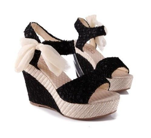 Eden - Lace Bow Tie Wedges