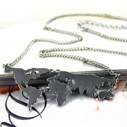 Vintage World Map Necklace (Available in 3 Different Colors)