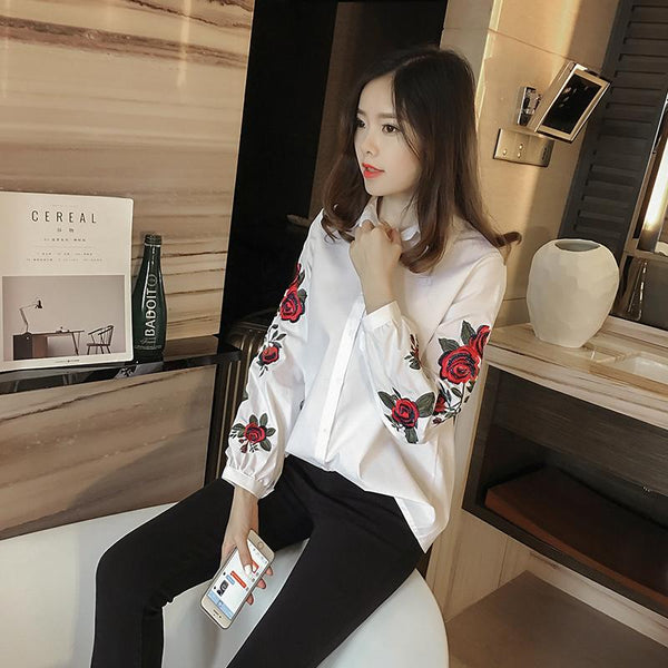 Ada - Floral Embroidered Long Sleeve Blouse