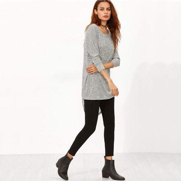 Bow Back High Low Long Sleeve T-Shirt