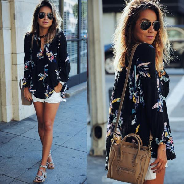Brooke - Floral Long Sleeve V-Neck Blouse