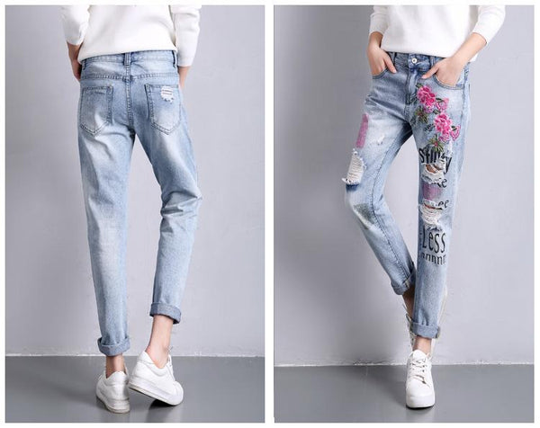 Embroidered Ripped Boyfriend Denim Jeans