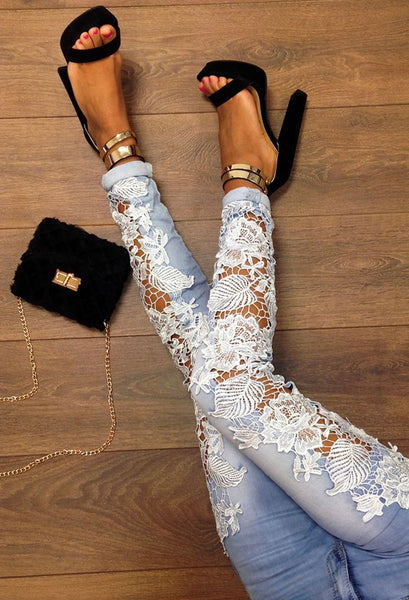 Floral Lace High Waist Skinny Leg Denim Jeans
