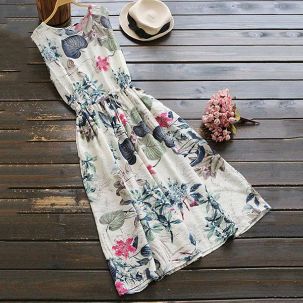 Rustic Floral Drawstring Dress