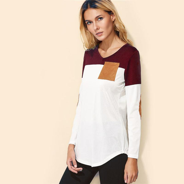 Color Block Elbow Patch Long Sleeve Tee