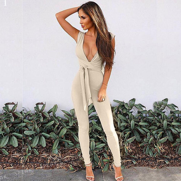 Dela - Deep V-Neck Waist Tie Long Jumpsuit