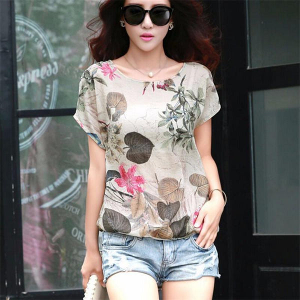 Emmalee - Short Sleeve Nature Print Blouse