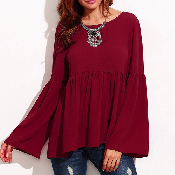 Terra - Long Sleeve Burgundy Blouse