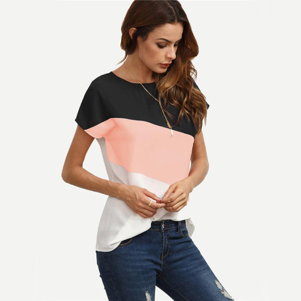 Flashbang - Color Block Short Sleeve Blouse