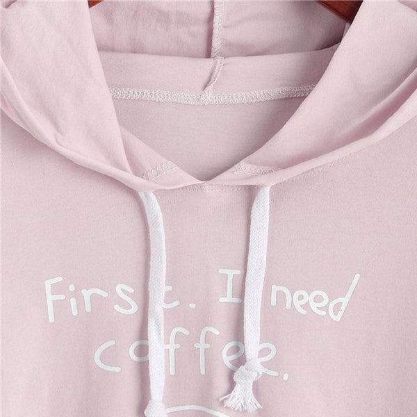 First. I Need Coffee. - Half Sleeve Hoodie