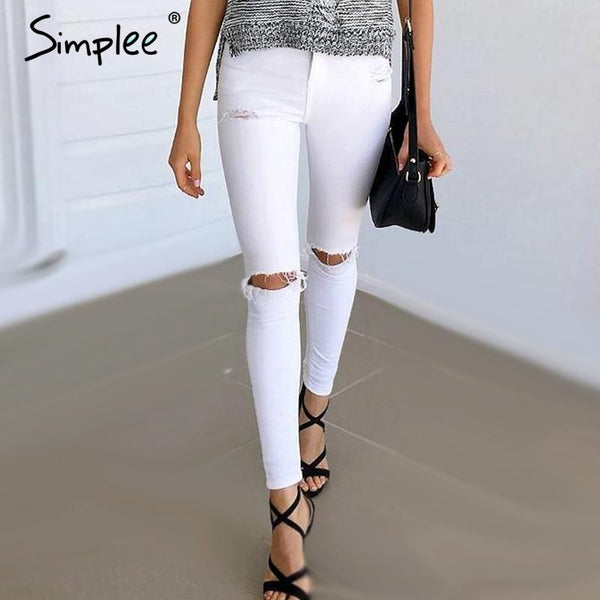 High Waist Ripped Skinny Leg Denim Jeans