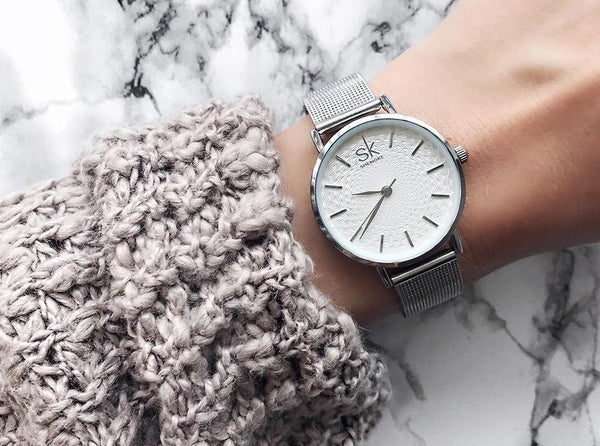 Silver Mesh Band Stainless Steel Watch