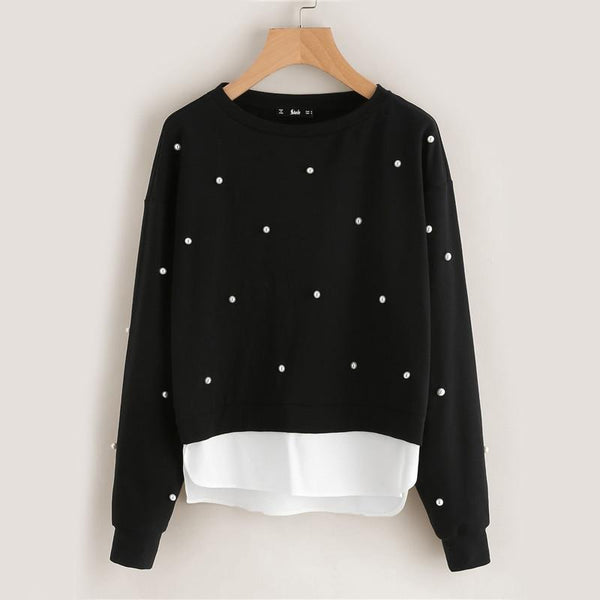 Polka-dot Pearl Beaded 2 in 1 Sweater
