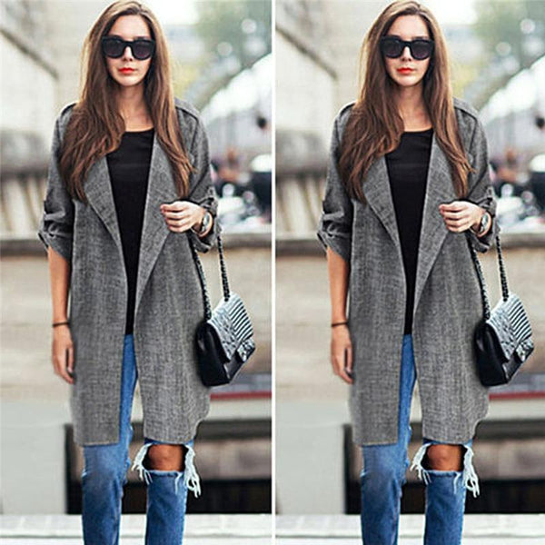 Cuffed Sleeve Open Front Coat