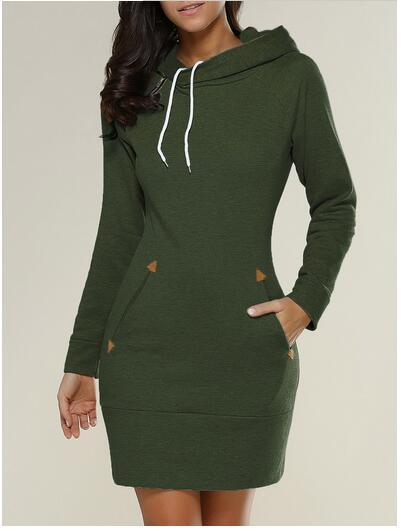 Turn - Hooded Sweater Dress with Pockets