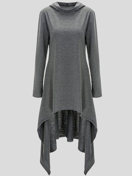 Krystal - Long Sleeve Asymmetric Hooded Pullover