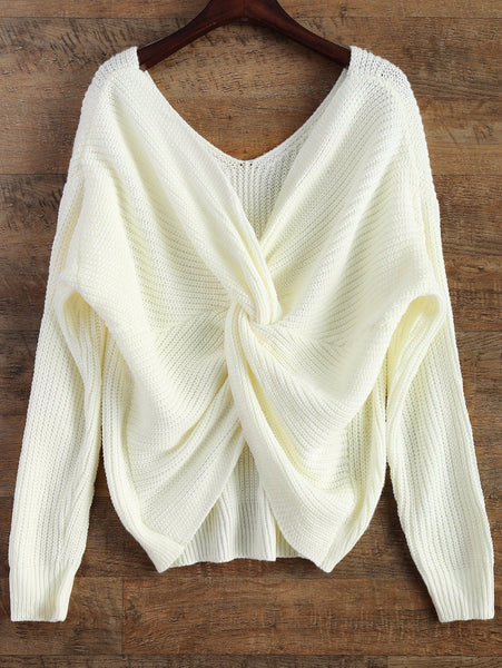 Margin - V Neck Twisted Pullover Sweater