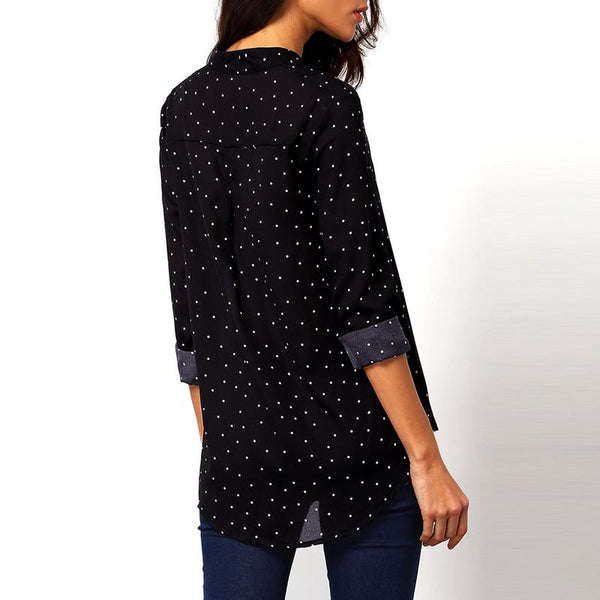 Uma - Polka Dot Button Up Chiffon Blouse