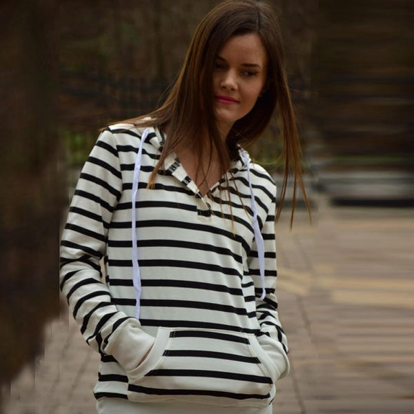 Cilla - Casual Striped Hoodie with Pocket