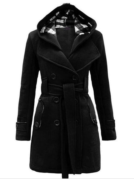 Lara - Double Breasted Hooded Coat