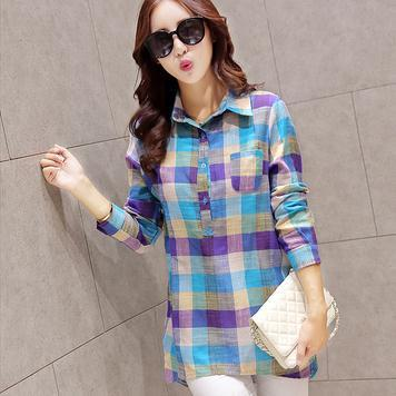 Olive - Long Sleeve Plaid Blouse