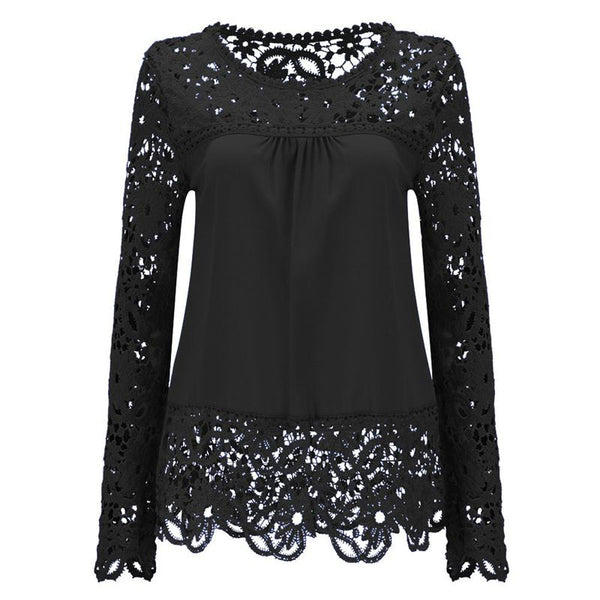 Nina - Lace Crochet Long Sleeve Blouse