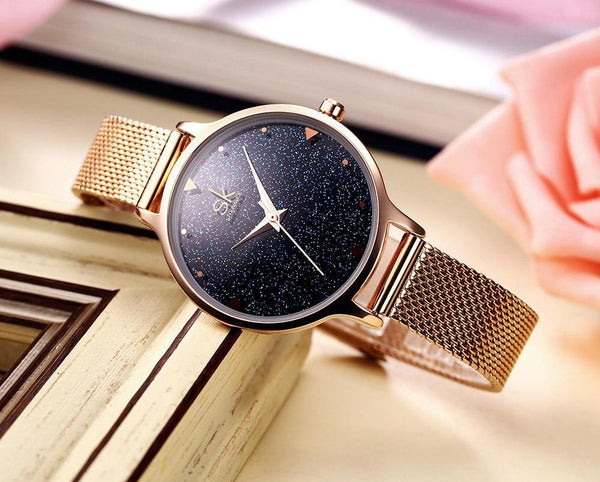Rose Gold Starry Sky Face Watch