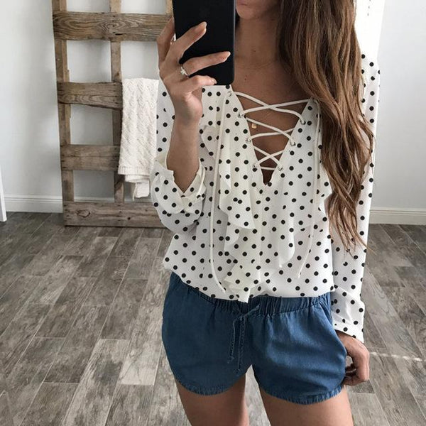 Shan - Lace Up V-Neck Ruffle Blouse