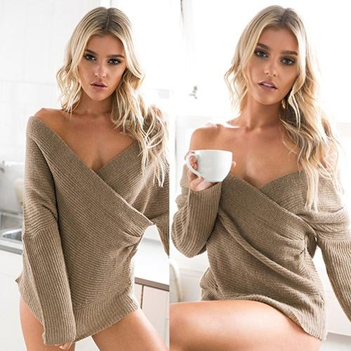 Bria - Deep V-Neck Knitted Sweater