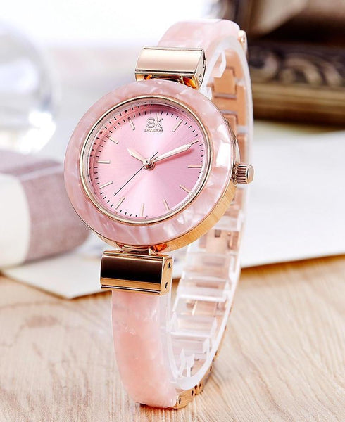 Luxury Round Face Marble Design Watch