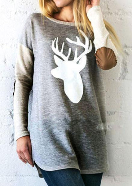 Marl Gray Reindeer Wide Neck Sweater