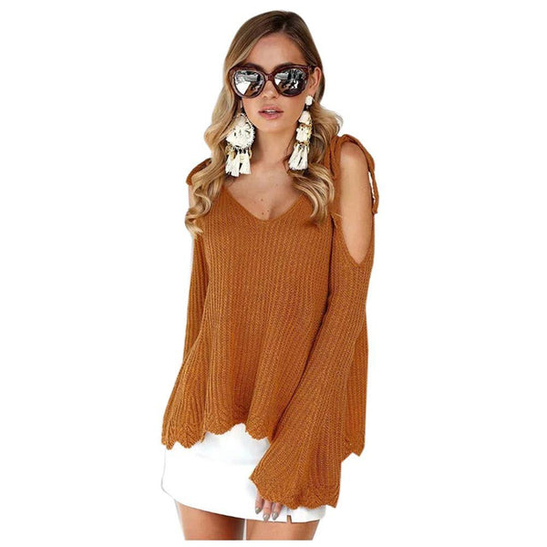 Bea - Cold Shoulder Flare Sleeve Pullover Sweater
