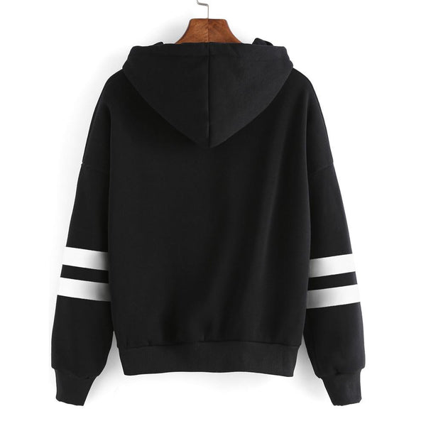 Striped Sleeve Jersey Hooded Sweater